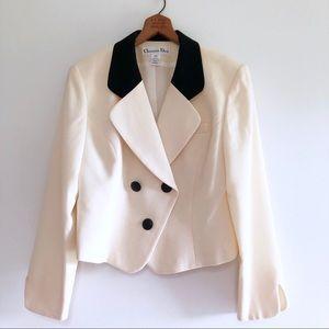 Christian Dior Vintage Wool Blazer Cream & Black